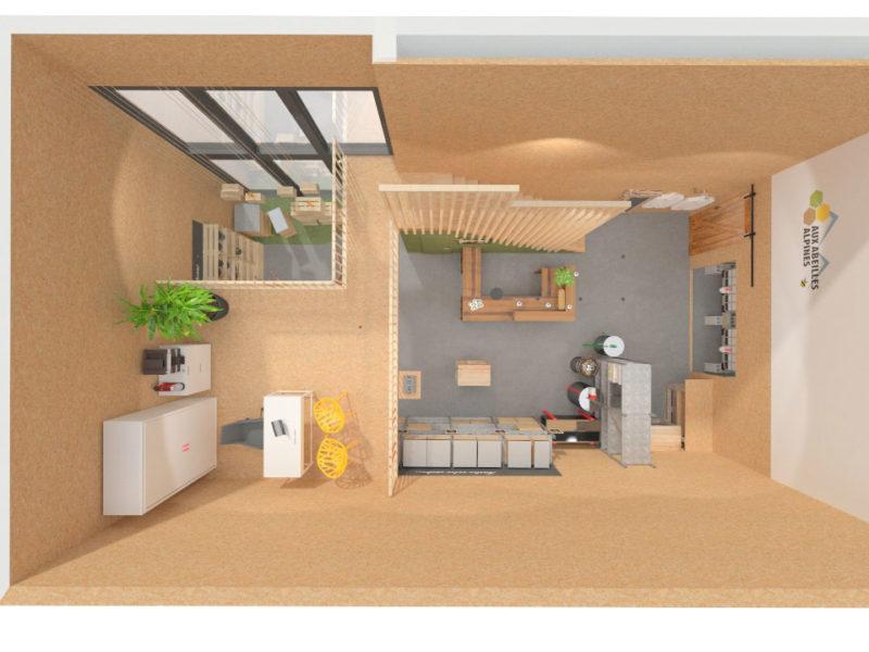 Plan de la mezzanine - Architecture d'intérieur - BOURGOIN JALLIEU - isère